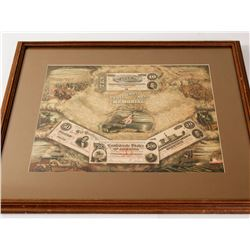 """Framed Original """"The Confederate Note Memorial"""" Lithograph"""