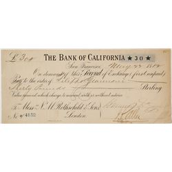 1882 Bank of California Second of Exchange for 30 Pounds
