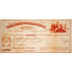Bank of California Exchange Signed by D.O. Mills, 1866, Payable in Gold Coin