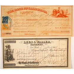 Bank of California Exchange Signed by D.O. Mills, 1867, Payable in Gold Coin Plus Lees & Waller Exch