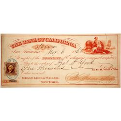 Bank of California Duplicate of Exchange, Bold Cancel, Payable in Gold Coin, 1868
