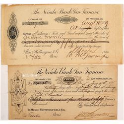The Nevada Bank of San Francisco, 2nd & 3rd of Exchanges, 1878 & 1889