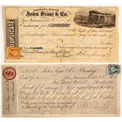 Two Different John Sime & Co. Exchanges, San Francisco, 1860s