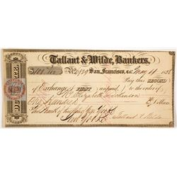 Tallant & Wilde Second of Exchange, San Francisco, 1858 w/ California Revenue Stamp