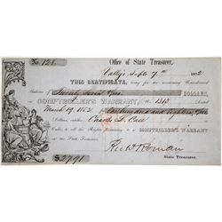 Gold Rush State Treasurer Warrant, Vallejo, California 1852