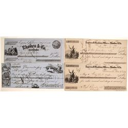 Rhodes & Co. Express and Banking Office Checks, Weaverville, 1850s