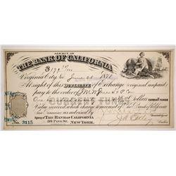 Bank of California Duplicate of Exchange, Virginia City, Nevada 1878