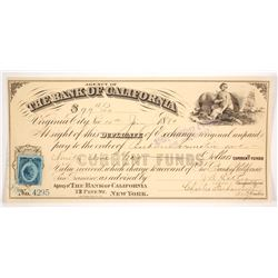 Bank of California Duplicate of Exchange, Virginia City, Nevada 1880 issued to Baldwin Locomotive
