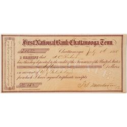 United States Official Deposit for Land Patent, First National Bank, Chattanooga, Tennessee