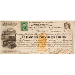 Revenue Imprinted Certificate of Deposit, Citizens' Saving Bank, 1871