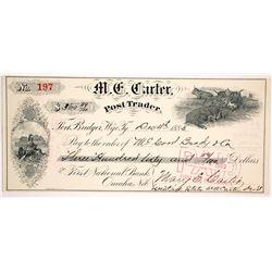 M.C. Carter Post Trader Check, Fort Bridger, Wyoming Territory