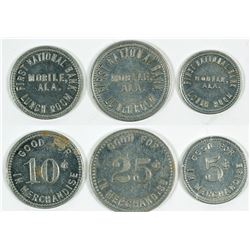 First National Bank Lunch Room Tokens, Mobile, Alabama