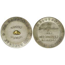 W.M. Haferkorn Cigar Store Token with Gold Nugget,  Everett, Washington