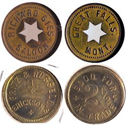 2 Western Saloon Tokens: Oregon and Montana