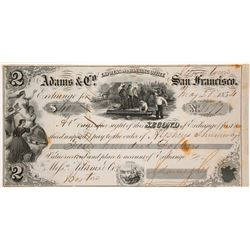 Adams & Co. Express 2nd of Exchange, Georgetown, 1854, California Gold Rush