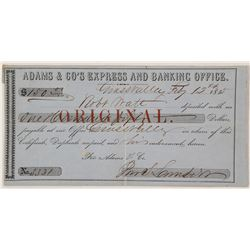 Rare Adams & Express and Banking Office Exchange, Grass Valley, CA 1855