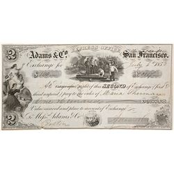 Adams & Co. Express Second of Exchange, Marysville, 1853, Gold Rush