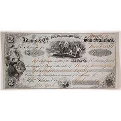 Adams & Co. Express 2nd of Exchange, Mokelumne Hill, 1854
