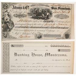 Montezuma, California, Gold Rush era Second of Exchange & Gold Dust Deposit Receipt