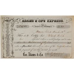 Great Adams & Co. Express Form with list of All California Offices, Mormon Island, Gold Rush