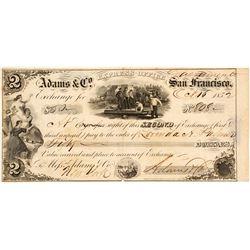 Adams & Co. Express 2nd of Exchange, Sacramento, 1852
