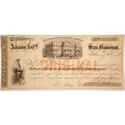 Adams & Co. Express Certificate of Deposit, 1854, San Francisco, Gold Rush