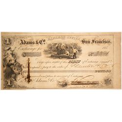 Adams & Co. Express First of Exchange, San Francisco, 1850s, California Gold Rush