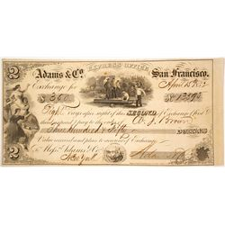 Adams & Co. Express Second of Exchange, San Francisco, 1852, Gold Rush