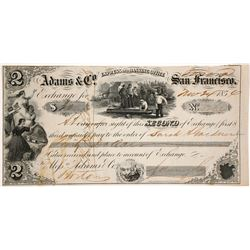 Adams & Co. Express 2nd of Exchange, Sonora, 1854, California Gold Rush