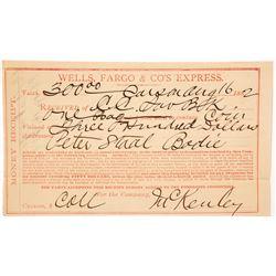 Wells Fargo Money Receipt from Carson City to Bodie