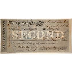 Wells Fargo Second of Exchange, Dutch Flat, CA, 1861