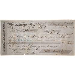 Wells Fargo Second of Exchange, Marysville, CA, 1855, Gold Rush