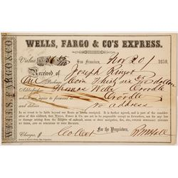 1859 Wells Fargo Receipt from San Francisco to Oroville