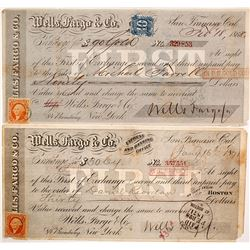 Two Wells Fargo First of Exchanges, in Gold & Currency, 1868 & 1871