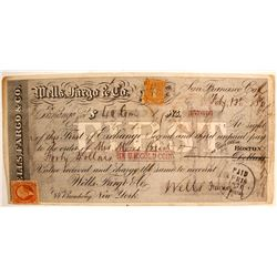 Wells Fargo & Co. First of Exchange w/ 4c California Revenue Stamp