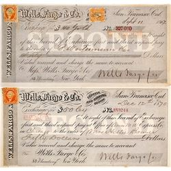 Two Wells Fargo Second of Exchanges in Gold & Currency, 1867 & 1870