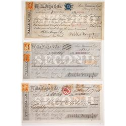 Three Wells Fargo Second of Exchanges w/ 3 Different California Revenue Stamps, 1865-1870