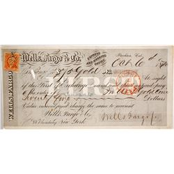 Wells Fargo First of Exchange, Stockton, CA 1870, Payable in Gold Coin
