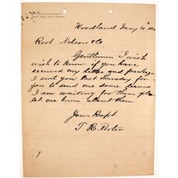 Wells Fargo & Co. Express Letter, Woodland, CA, 1880