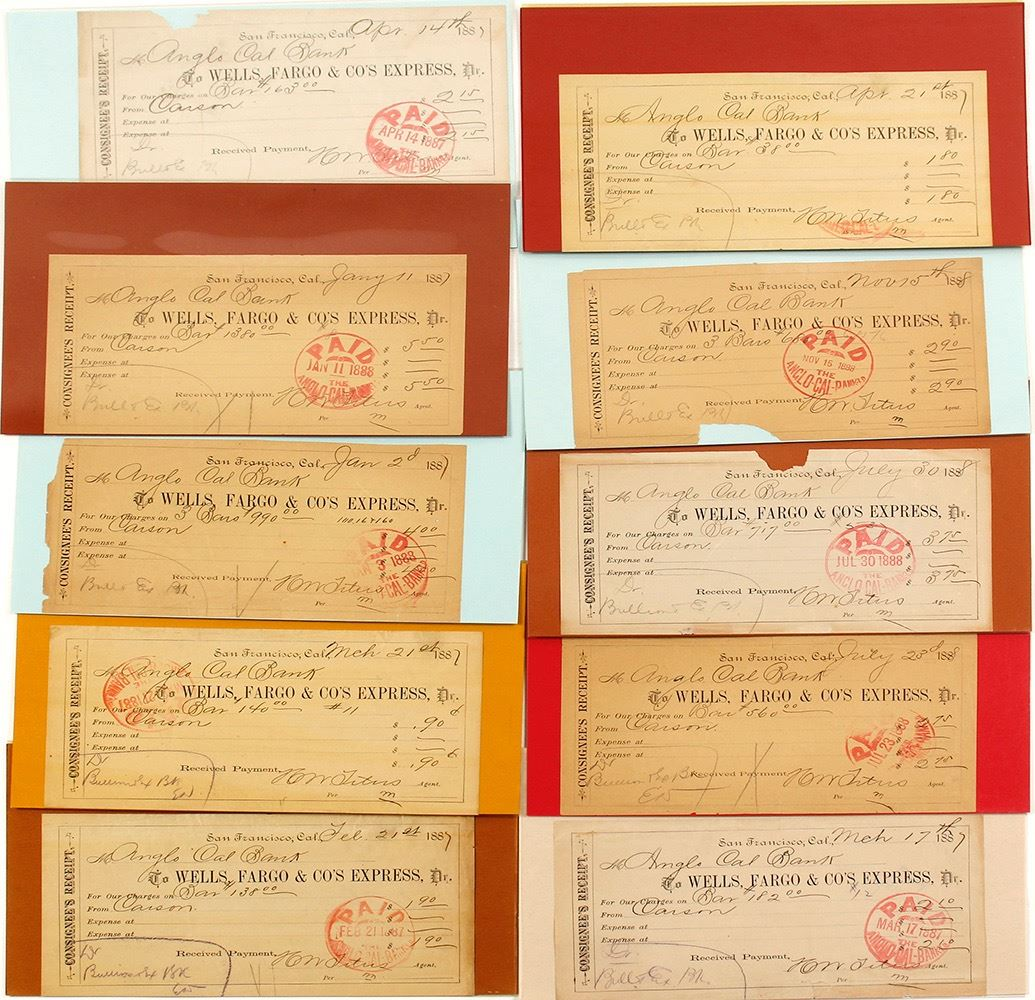 Collection of Wells Fargo Consignee's Receipts from Carson