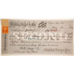 Wells Fargo Second of Exchange, Virginia City, Nevada, 1869, Issued to Saloon Owner