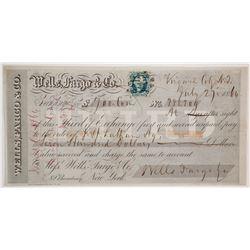 Wells Fargo, Virginia City, Nevada Territory, 3rd of Exchange--Best of all Nevada Exchanges