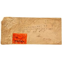Rare Orange Stamp, Wells Fargo, Virginia, Nevada Envelope