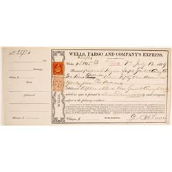 Wells Fargo Receipt for Gould & Curry Silver Bar Shipment, Virginia City, NV 1869