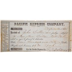Pacific Express Company Receipt, Drytown, California, 1856, California Gold Rush
