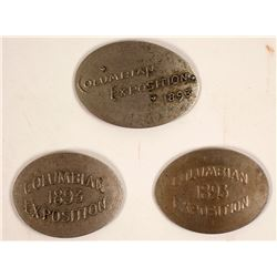 Three Different Columbian Exposition / Chicago World's Fair Rolled Coins