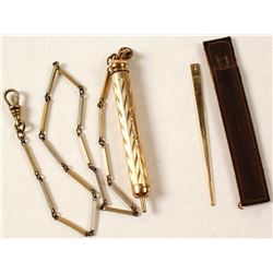 14K Gold Mechanical Pencil and Gold Toothpick
