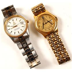 Two Masonic Wristwatches w/ Diamonds
