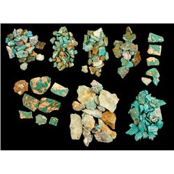 Eight Smith Valley Turquoise Specimens