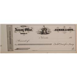 James J. Ott Gold Dust Assay Receipt, 1860s